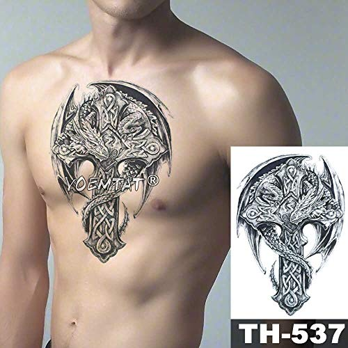 JXAA Skizze Tiger Tattoo Aufkleber Löwe Wolf wasserdicht Tattoo Krieger Krieger Flügel Körper Kunst Arm Tattoo männliche Dame 17-TH537