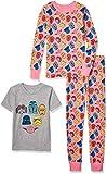 Spotted Zebra Girls' Kids Disney Marvel Frozen Princess Snug-Fit Cotton Pajamas Sleepwear Sets, 3-Piece Star Wars Scribble, Small