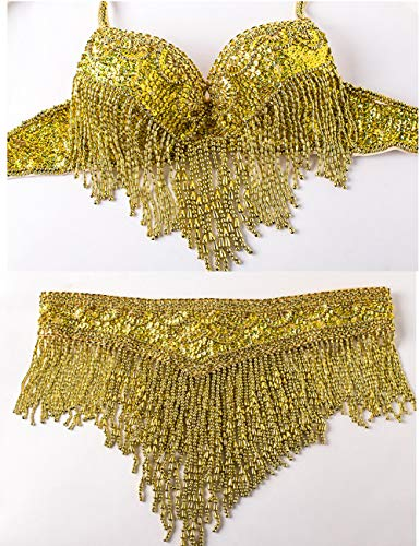 Women Belly Dance Clothes Eastern Style Beaded Top and Belt Adjustable 2pcs Costumes for Belly Dance Bra Costume with Necklace (S, Gold)
