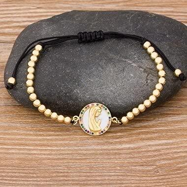Fashion Handmade Tree of Life Beads Bracelet Copper Zircon Paved Adjustable Rope Virgin Mary Bracelet Lucky Jewelry Braided Gift