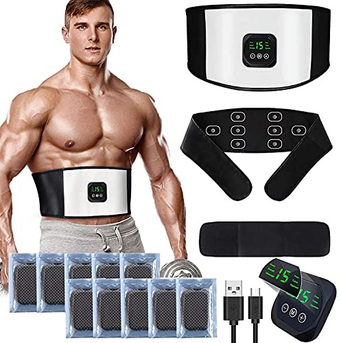 zociko Electroestimulador Muscular Abdominales, Estimulador Estimulación Muscular, ABS Estimulador Muscula, Eléctrico Cinturón EMS Estimulación USB Recargable ABS Trainer Almohadillas de Gel 10pcs