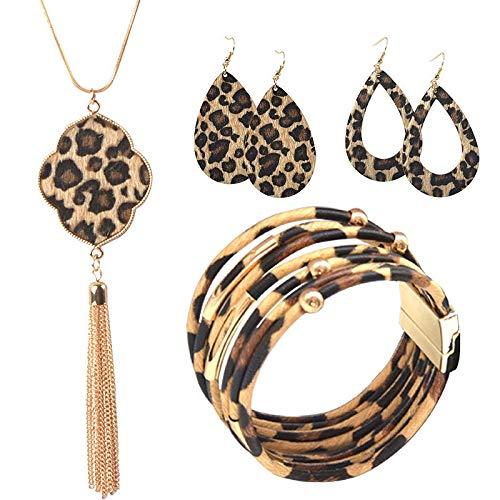 Fransande Juego de joyas de leopardo para mujer, pulsera de piel de leopardo, pendientes colgantes de lágrima, collar con colgante de borla larga, regalo de joyería de Navidad