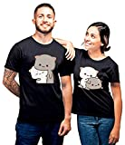 SQ Exports Couple Combo Half Sleeves Peach Goma 4 Design Cotton T-Shirts + Keychains (Black, Men- M,...