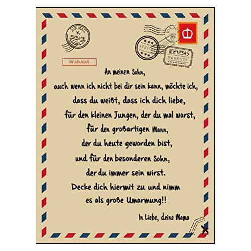 Hspemo Manta con mensaje en alemán a mi hijo y mi hija, diseño personalizado para padre y madre de la serie de padres e hijos, manta para el sofá, manta para bebé, 150 x 220 cm