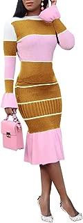 Chellysun Women Long Sleeve Bodycon Sweater Dresses 2 Piece Color Block Ruffle Knit Midi Dress