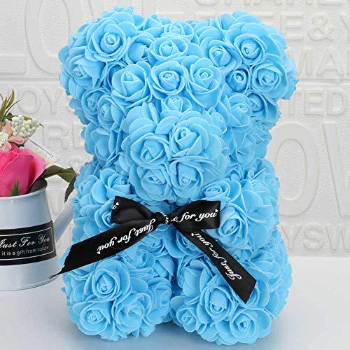 SUPERMOLON Oso de Rosas Foam 25cm con Caja de Regalo y Lazo - Rose Bear Oso Rosas Artificiales - Regalo San Valentín, Enamorados, Aniversario, Amor, Cumpleaños (Azul)
