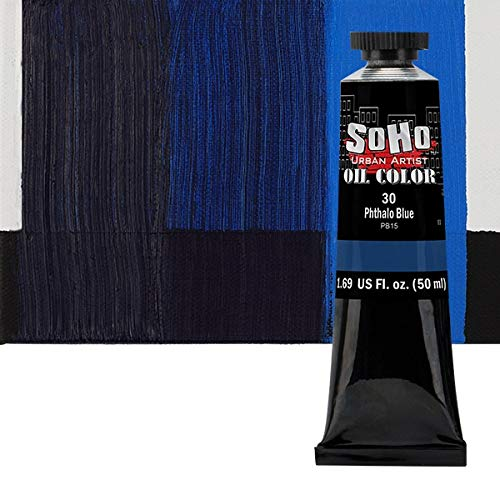 SoHo Urban Artist Oil Color Paint - Professional Highly Pigmented for Canvas Painting - 50ml Tube Phthalo Blue