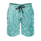 Youturnnow Psychedelic Mandala Lotus - Bañador corto para hombre, secado rápido, para playa, entrenamiento, tiempo libre, Blanco, XXXXL