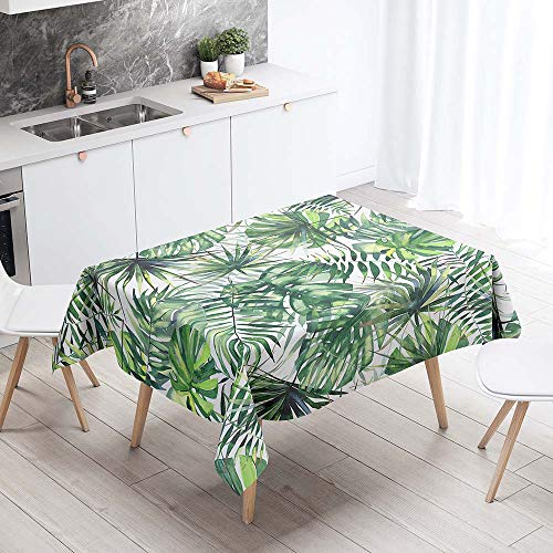 Tovaglie da Tavolo Impermeabile Rettangolare, Chickwin Antimacchia Antipolvere da Tavolino Cucina Tavolo da Giardino Decorazione Foglie Tropicali Stampa 3D (Foglie di palma,140x260cm)