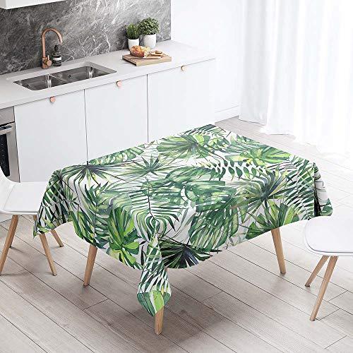 Mantel para Mesa Impermeable Antimanchas, Chickwin Cocina Comedor Rectangular Resistente al Desgaste Lavable Mantel de Poliéster Hojas Tropicales Patrón 3D (Hojas de palma,140x240cm)