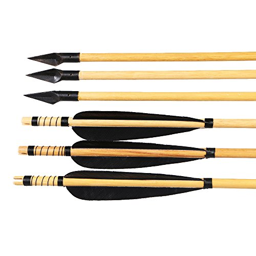 Huntingdoor Wooden Arrows 31inch Archery Shaft 5' Turkey Feathers Fletching with Arrowhead 150 Grain for Traditional Recurve Bow or Longbows (Black)