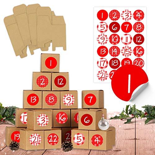 24 Adventskalender Schachteln zum Befüllen - 24 Kisten zum Basteln - Rot - naturbraune Schachteln aus 400g/m²-Karton zum Aufstellen und Dekorieren - 24 wiederverwendbare Boxen - Weihnachten