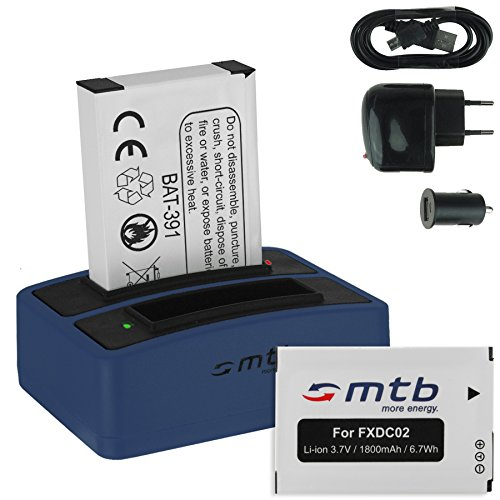 2X Akku + Dual-Ladegerät (Netz+Kfz+USB) FXDC02, CFXDC02 für Drift HD Ghost (10-005-00), Ghost-S (10-007-00)