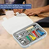 1 Juego de herramientas de kit de punta de cinta de sesgo de encuadernación de tela para coser y acolchar y AWL con prensatelas de encuadernación de cinta