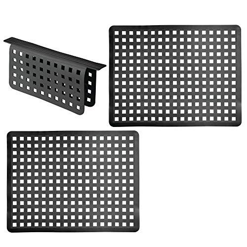 mDesign 3-delige set grote kunststof gootsteen invoegen – Grid Druppelmat voor bescherming tegen krassen – beschermende mat voor dubbele wastafel Zwart
