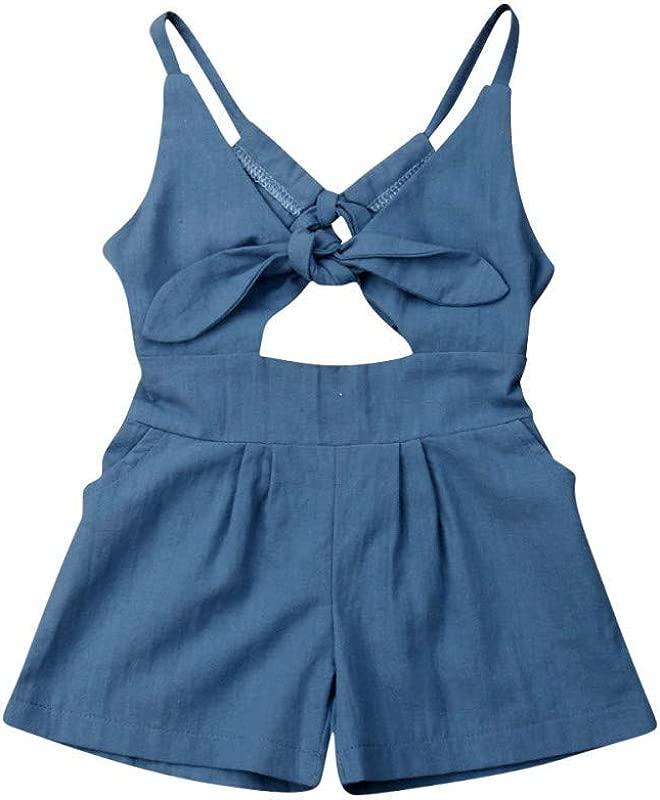 RoDeke New Toddler Kids Baby Girls Sleeveless Sling Front Bow Knot Hollow Bandage Denim Romper Jumpsuit Summer