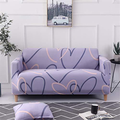 Surwin Funda de Sofá Elástica para Sofá de 1 2 3 4 plazas, Impresión Universal Cubierta de Sofá Cubre Sofá Funda Furniture Protector Antideslizante Sofa Couch Cover (Corazón,4 plazas - 235-300cm)