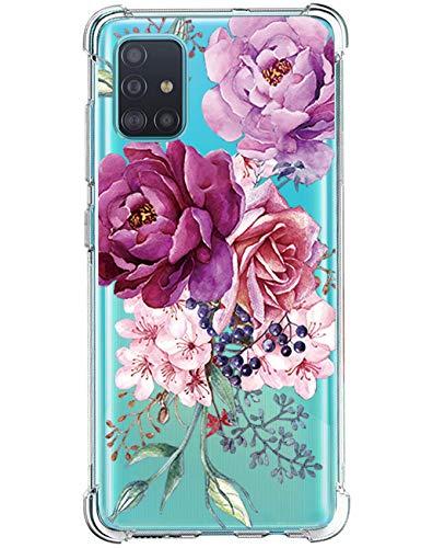 vivio Compatible avec Coque Samsung Galaxy A51 Cover, Antichoc Transparente Silicone Motif de Fleurs Housse en Premium TPU Protection Case Bumper