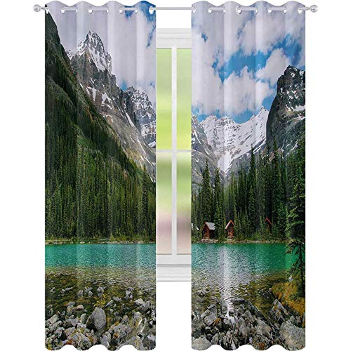 Printed Blackout Curtains, Canada Ohara Lake Yoho National Park with Mountains Nature Scenery Art Photo, W52 x L72 Blackout Drapes for Kid's Room, Multicolor