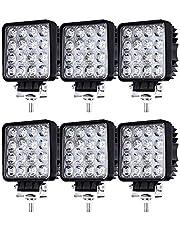 Hengda 6X 48W Faro Trabajo Led, Focos LED Tractor 12V Focos LED para Tractores IP67 Impermeable Luz de Niebla Coche, Tractor, SUV, UTV, ATV, Off-road, Camión, Moto, Barco
