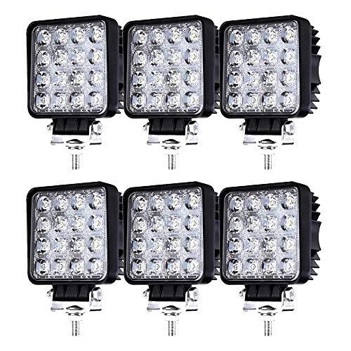 Hengda 6x 48W LED Arbeitsscheinwerfer 12v Scheinwerfer für Traktor, Auto, LED Strahler LKW, Offroad, PKW Zusatzscheinwerfer Rückfahrscheinwerfer Wasserdicht IP67 SUV