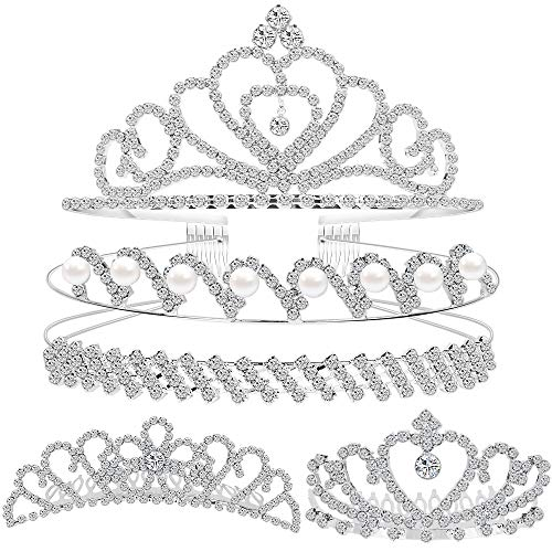 Set of 5 Crystal Headband, Teenitor Rhinestone Headbands for Women Hair Jewelry Wedding Headband Crown Party Tiaras-Silver