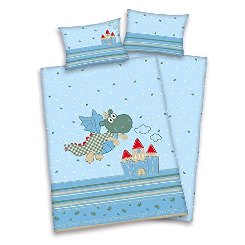 3 tlg. Baby Bettwäsche Wende Motiv Drachen renforcé 100x135 cm + 40x60 cm + 1 Spannbettlaken in weiß 60x120-70x140 cm