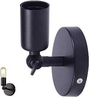 Prostota vintage industrialny kinkiet kinkiet ścienny E27 Edison retro czarny uchwyt lampy ściennej i regulowany uchwyt św...