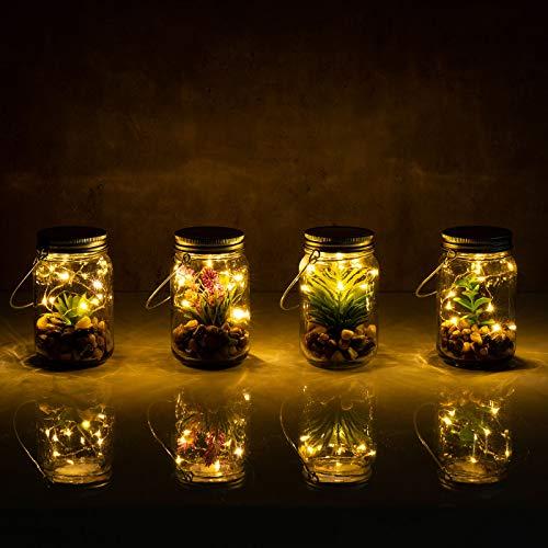 4er Set Sukkulenten Im Glas B x H: 8 x 13 cm Deckel LED Warmweiß Henkel Deko Tischdeko Lampe Kunstpflanze Hängelampe - 7