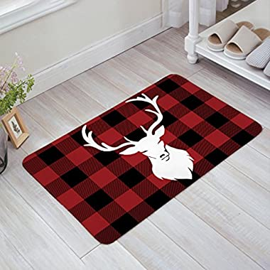 Libaoge Red Black Buffalo Check Plaid White Deer Head Doormat Welcome Mat Entrance Mat Indoor/Outdoor Door Mats Floor Mat Bath Mat