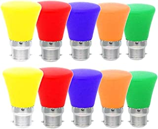 Mobestech 10pcs Coloured LED Bulbs 3W B22 Crown Durable Energy Saving Mixed Color Light Bulb for Outdoor Patio Christmas W...