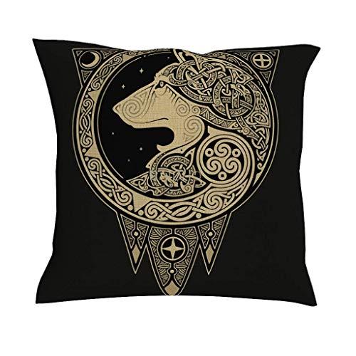July Kussensloop van bedrukte stof Viking Wolf decoratie voor thuis wit