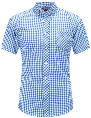JEETOO Klassics Herren Slim Fit Bügelleicht Kariert Kurzarm Bluse Freizeit Hemd Baumwolle Button-down Super Modern super Qualität Shirt (Medium, Blau und Weiß)