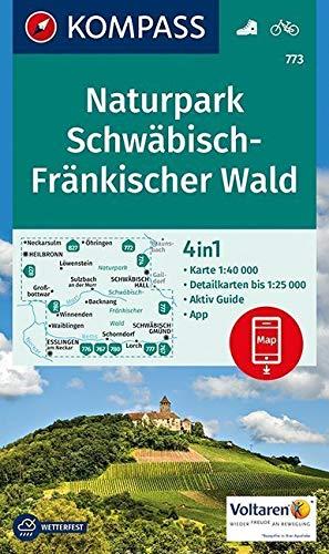 KOMPASS Wanderkarte Naturpark Schwäbisch-Fränkischer Wald: 4in1 Wanderkarte 1:40000 mit Aktiv Guide und Detailkarten inklusive Karte zur offline Verwendung in der KOMPASS-App. Fahrradfahren.