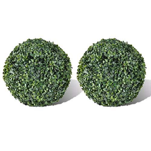 Unfade Memory 2er-Set Buchsbaum Kugel Buchskugel Kunstbaum Buchsbaumkugel Plastikpflanze Kunstpflanze Deko für Innen-und Außenbereich (Ø 27 cm)