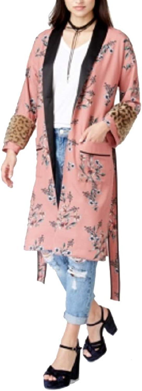Endless pink FauxFurTrim Kimono Jacket