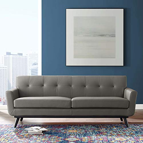 Modway Engage Top-Grain Leather Living Room Lounge Sofa in Gray