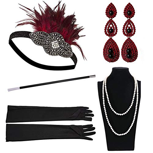 Yuccer 20er Jahre Accessoires Set Damen Gatsby Kostüm Accessoires Set Inklusive Stirnband Halskette Handschuhe Zigarettenhalter Ohrringe (Rot)