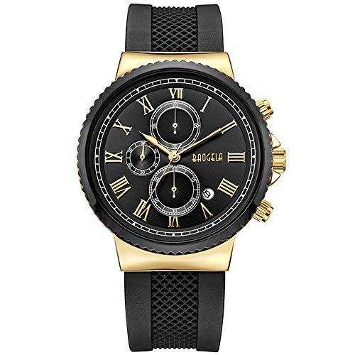 Baogela mens orologi 45millimetri quadrante impermeabile orologio di lusso nero minimalista orologio da polso sportivo abito Business data silicone orologi per uomo