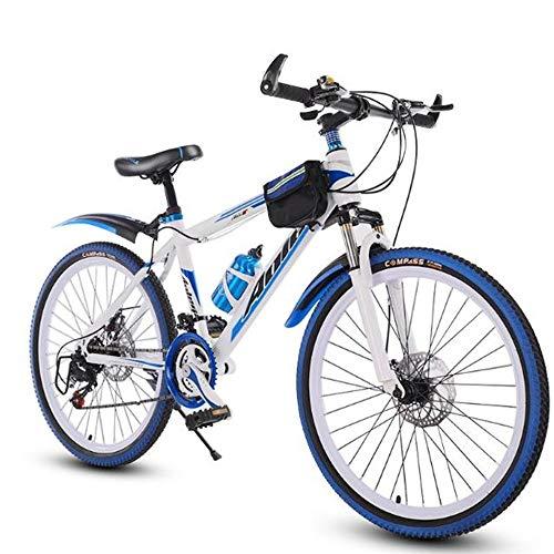 JLFSDB Mountain Bike, 26 Inch Men/Women Hard-Tail Bicycles,Carbon Steel Frame,Dual Disc Brake Front Suspension,21/24 Speed (Color : Blue)