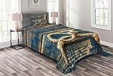 ABAKUHAUS maritim Tagesdecke Set, Seil & Seesterne Holz, Set mit Kissenbezügen Waschbar, für Einselbetten 170 x 220 cm, Bernstein Nachtblau