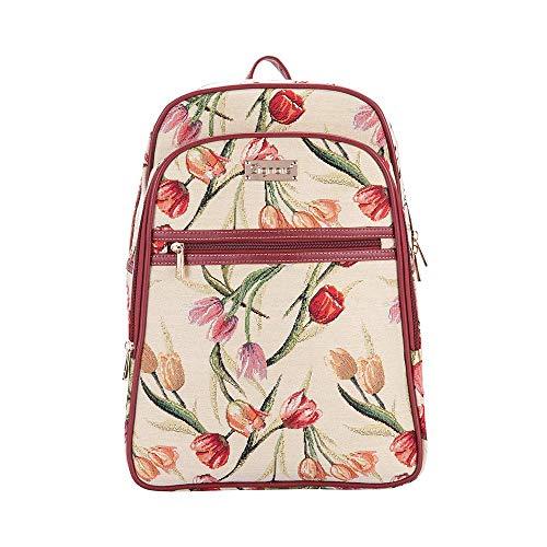 Signare Gobelin-Rucksack für Damen, Computer-Rucksack, Büchertaschen für Damen, mit Tulpenmotiv, Weiß