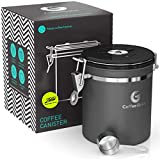 Coffee Gator Stainless Steel Coffee Grounds and Beans Container Canister with Date-Tracker, CO2-Release Valve and Measuring Scoop, Small, Silver