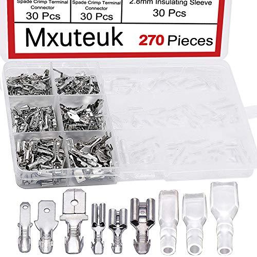 mxuteuk/270Pcs Schnellverbinder des Klassifizierungs-Toolkits 2.8/4.8/6.3 MM Flachsteckverbinder männliche&weibliche Kabelschuh .mit Isolierhülse,für die elektrische Verkabelung Car-Audio-Lautsprecher