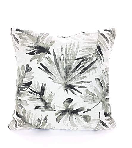 Toll2452 Fundas de Almohada de diseño de Hojas de Palma, Cojines de Color marrón y Negro, Gris, decoración Tropical, Almohada de Lino Pesado para sofá o Cama