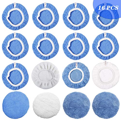 ICARMAINT Car Polisher Pad(9 to 10 inch), 16Pcs Polisher Bonnet Soft Polishing Bonnet Buffing Pad Cover, 2Woollen+1Cotton+10Microfiber+3Coral Fleece