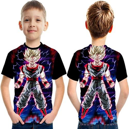 EA-SDN Dragon Ball - Camiseta infantil de manga corta con dibujos animados en 3D, para verano, deportes al aire libre, unisex, 4-16 años, 110-160 cm (Dragon Ball 8,130)