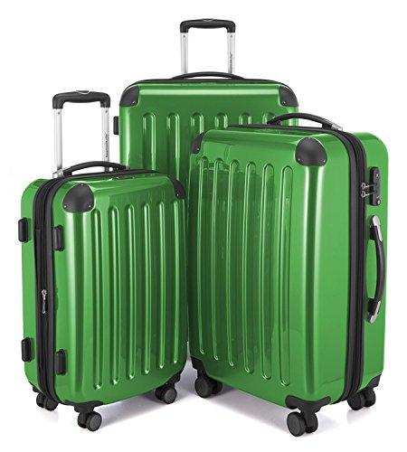 HAUPTSTADTKOFFER - Alex - 3er Koffer-Set Trolley-Set Rollkoffer Reisekoffer Erweiterbar, 4 Rollen, TSA, (S, M & L), Grün