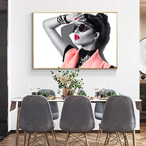 Yulernka Fashion Red Lip Woman Flower Canvas Painting Posters And Prints Wall Art Picture For Living Room Modern Home Decor 30x45cm