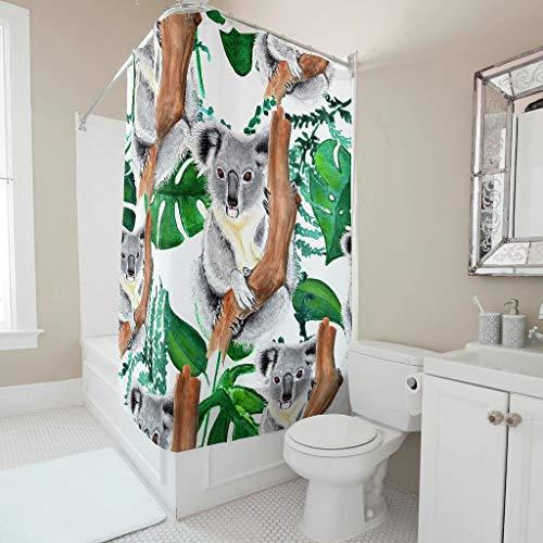 Dofeely douchegordijn Koala-bedrukt schimmelbestendig gordijn badkamergordijn 100% polyester